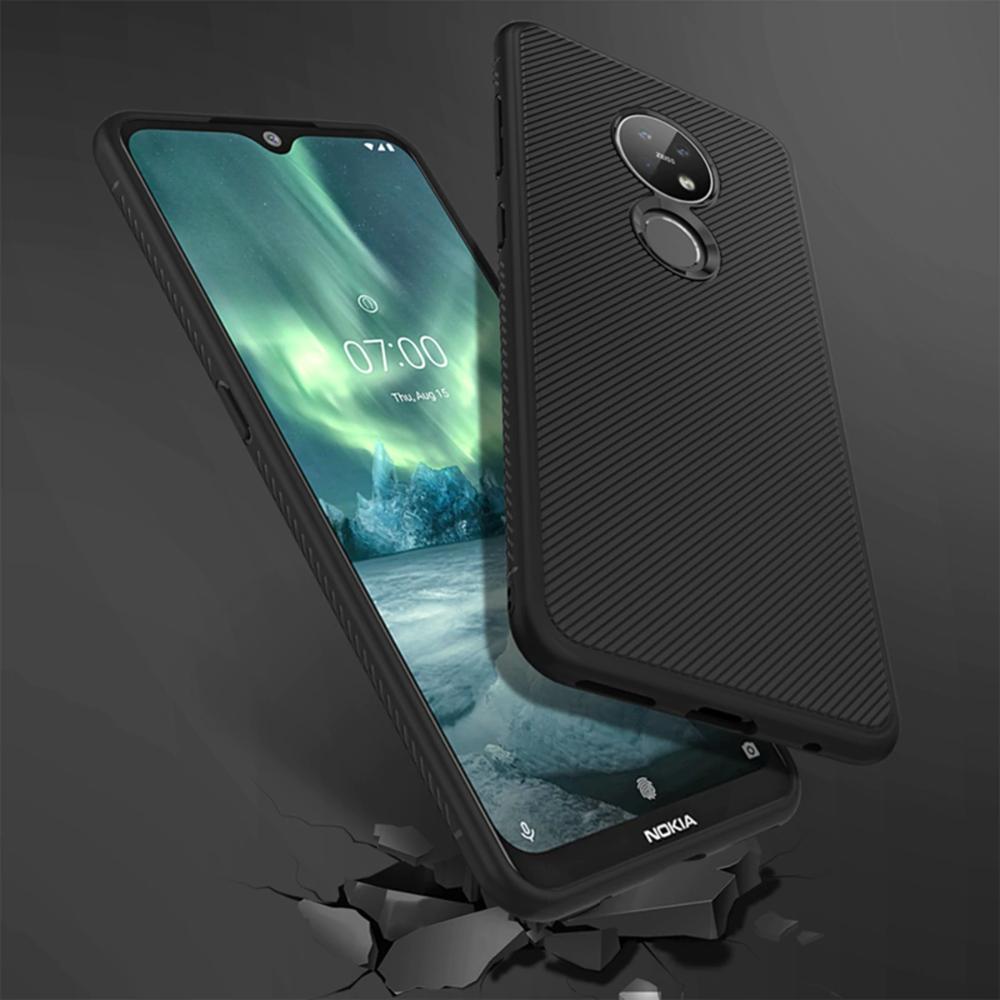 لنوكيا 7 2 6 2 حافظة سيليكون سليم عدم الانزلاق نسيج ألياف الكربون لينة بولي يوريثان عودة غطاء لعلامة نوكيا 7 2 حافظة Fu Samsung Galaxy Phone Galaxy Phone Nokia
