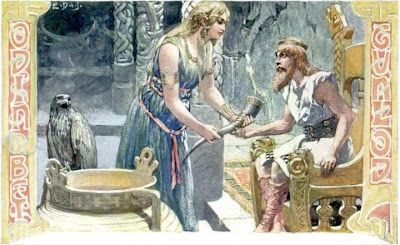 Image of Gunlod and Odin with Mead of Poetry