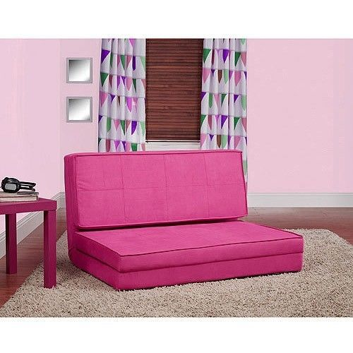 Pink Folding Lounger Bed Teen Chair Sofa Chaise Futon Couch ...