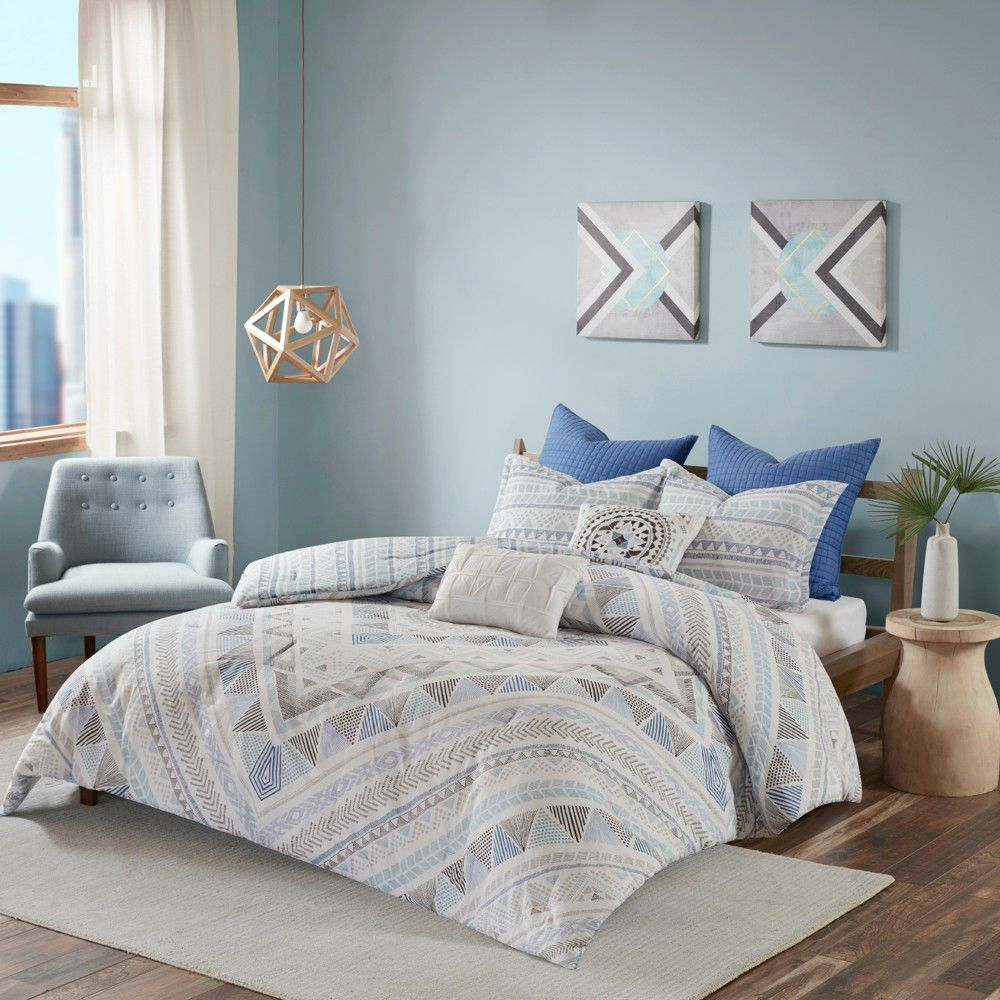 Read Reviews And Buy Blue Sydney Cotton Reversible Comforter Set Full Queen 7pc At Target Choose Fro In 2020 Comforter Sets Duvet Cover Sets Reversible Duvet Covers