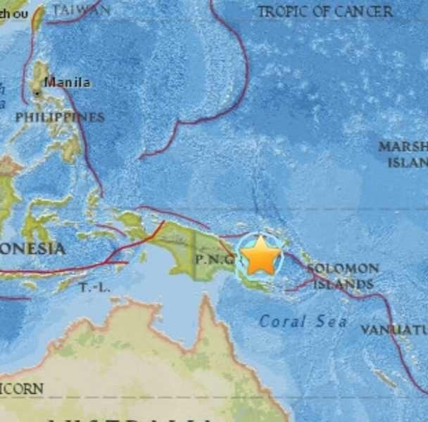Terremoto de magnitud 65 sacude el noreste de Papúa Nueva Guinea