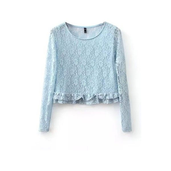 Round Neck Plain Ruffle Hem Long Sleeve Lace Shirt (82 CNY) via Polyvore featuring tops, long sleeve tops, lace top, long sleeve lace top, blue long sleeve top and blue lace top