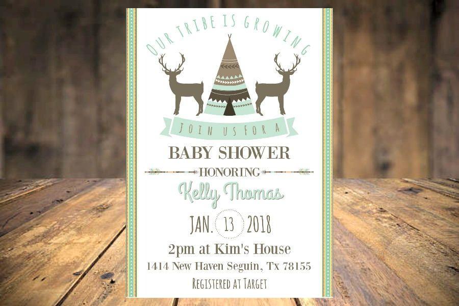 Deer Teepee Boy Baby Shower Invitation Tribal Boy Baby Shower ...