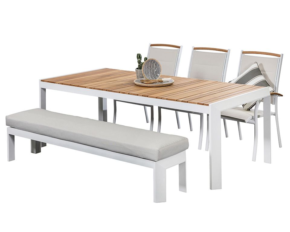 Aluminium Outdoor Dining Sets Timor White 3 Seat With Bench