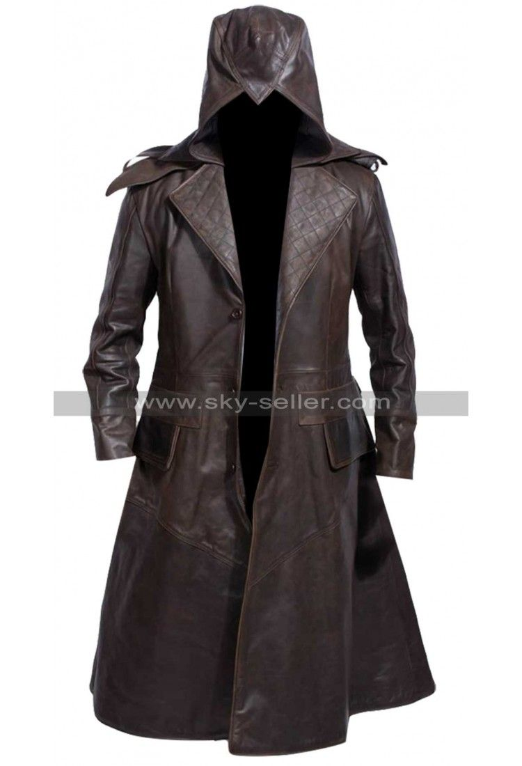 Assassins Creed Unity Hood Costume Faux Leather Trench Coat