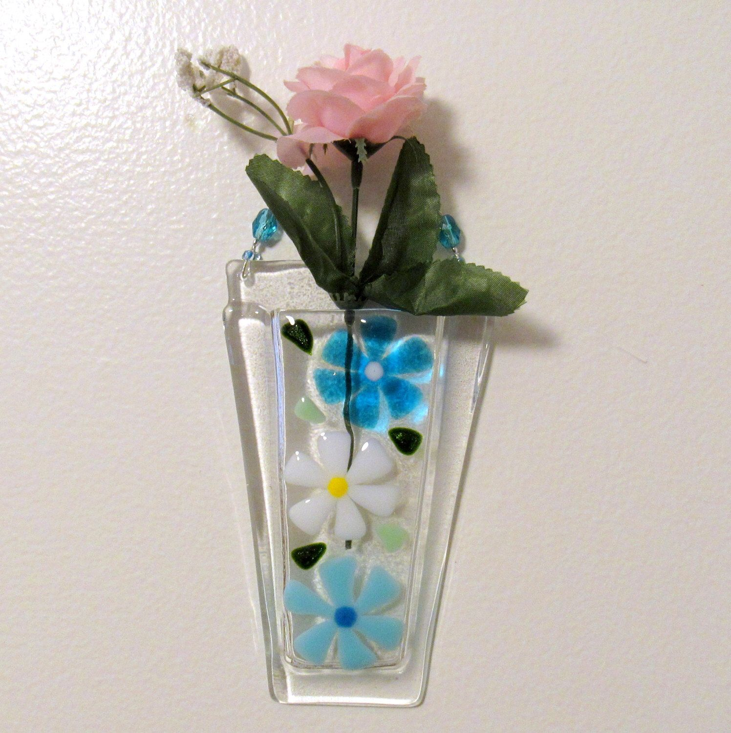 Fused Glass Wall Vase Flower Vase Wall Hanging Pocket Turquoise And White Flowers Mothers Day Gift Glass Daisies With Images Glass Flower Vases Glass Wall Vase Wall Vase