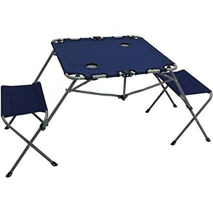 Ozark Trail 2 In 1 Table Set Includes Two Seats And Two Cup Holders Great For Picnic Or Camping Blue Sw16021 Camping Table Camping Picnic Table Ozark Trail