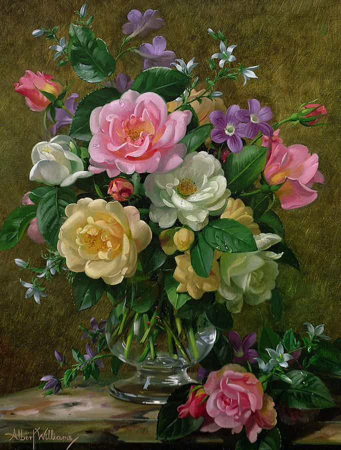 Roses In A Glass Vase Painting Roses In A Glass Vase Fine Art Print Floral Painting Floral Art Flower Painting