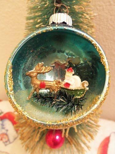 Vintage Rare Mercury Indent Diorama Santa Bottle Brush Tree Ornament Ebay Vintage Christmas Ornaments Christmas Diorama Vintage Christmas Decorations