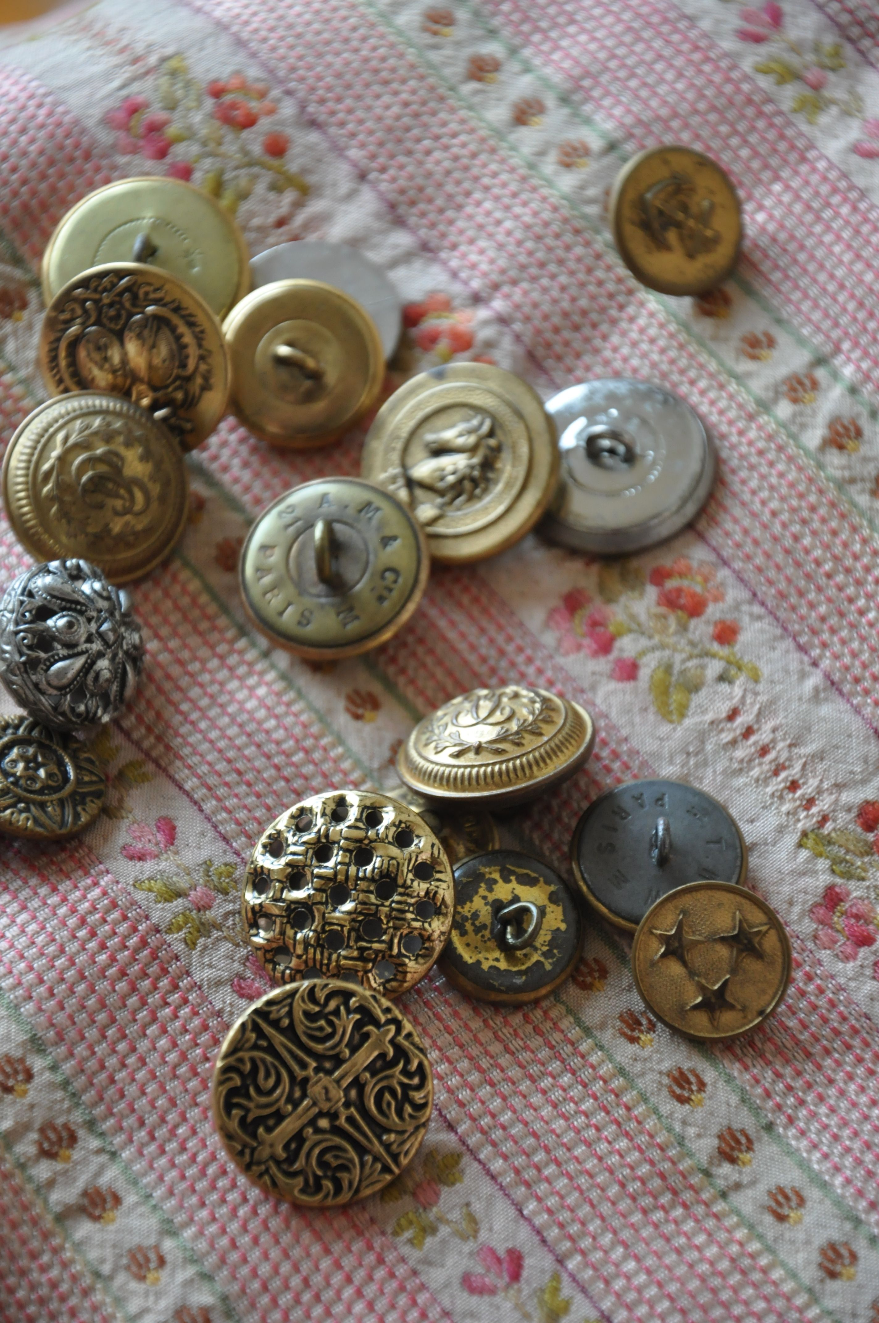 Antique French silk and buttons from my private collection