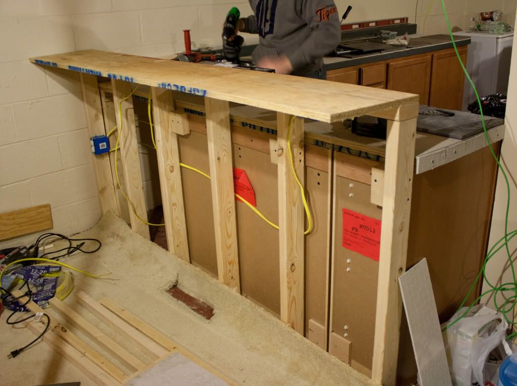 Kitchen Base Cabinets Remodel Raise On Plywood