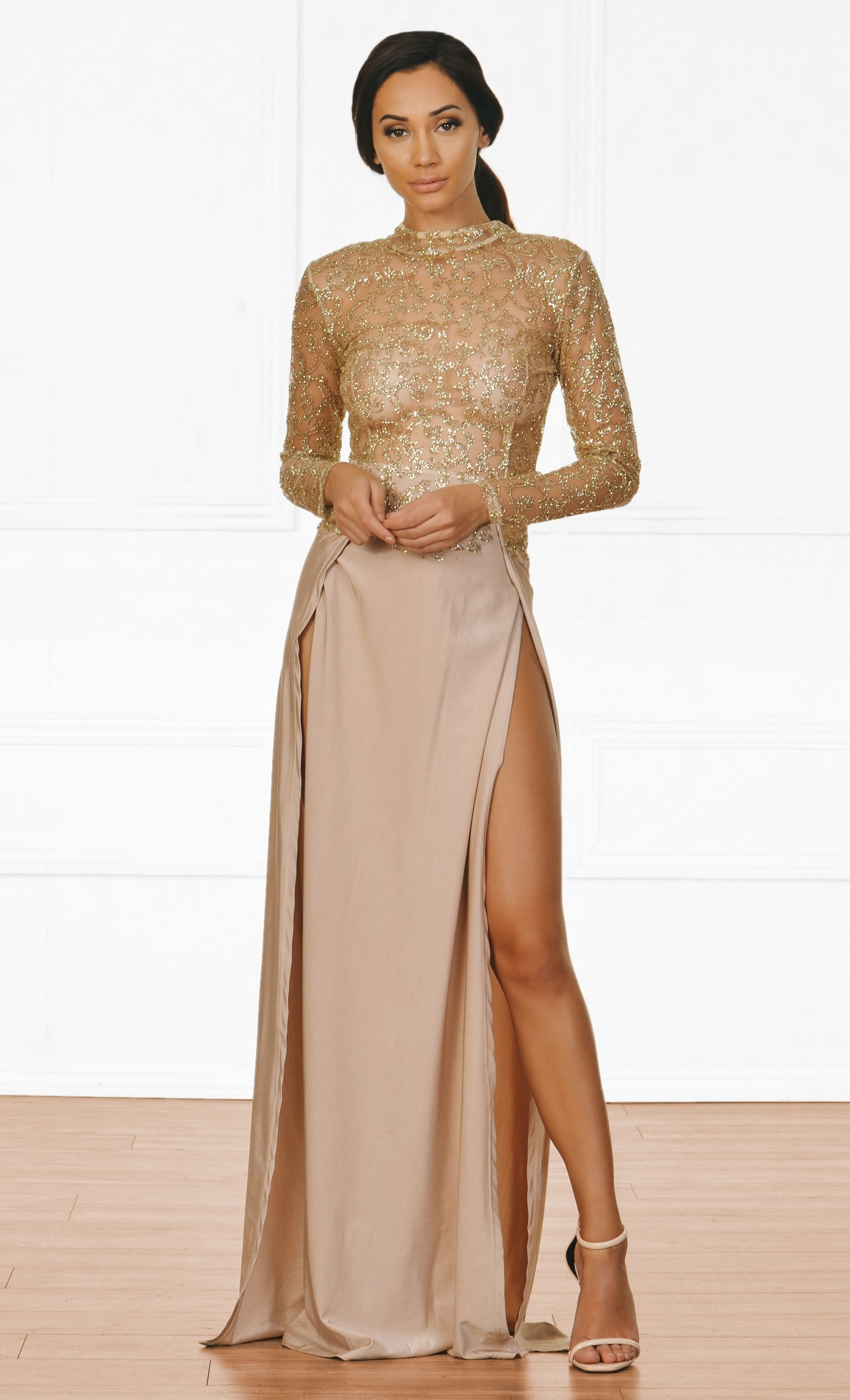 d1b2d5bf5a Indie XO High Drama Beige Gold Glitter Sheer Mesh Long Sleeve Mock Neck Cut  Out Back Double Slit Maxi Dress
