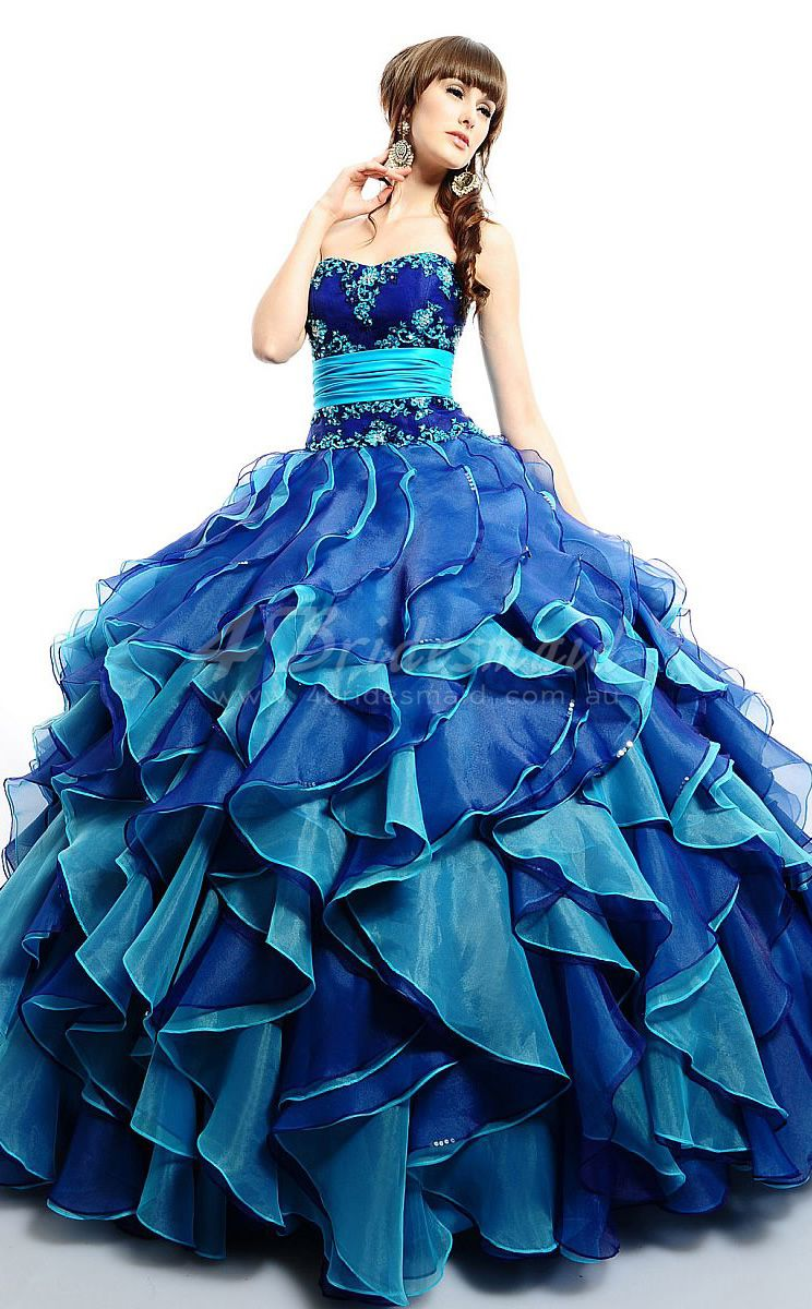 Ocean blue organza bateau neck zipper ball gown quinceanera dresses