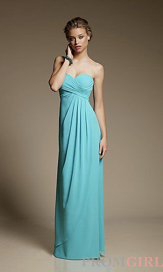 Strapless Chiffon Bridesmaid Dress by Mori Lee at PromGirl.com