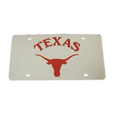Texas Longhorns Silver Laser License Plate
