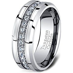 e06b965b66ac1 Mens Wedding Band Classic 8mm Tungsten Ring Polished Fully Stacked ...