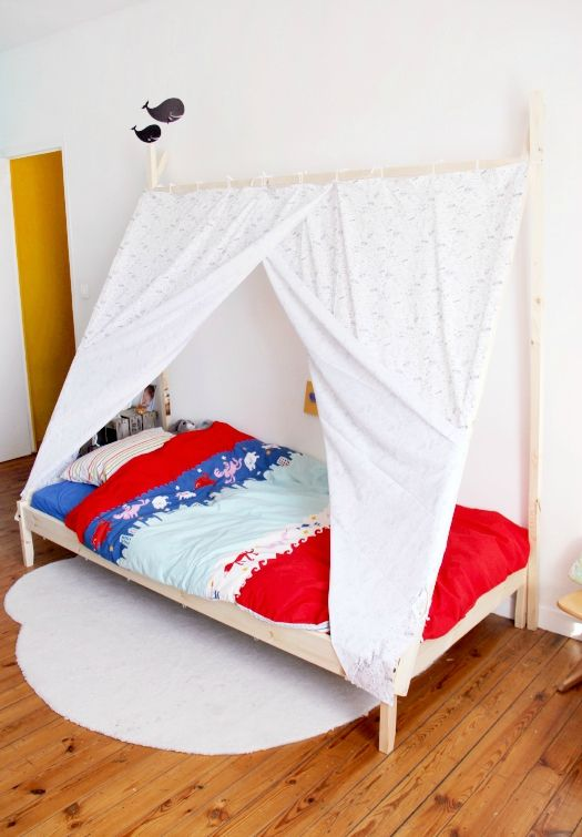 diy un lit tipi t te d 39 ange kidos pinterest room bed and diy bed. Black Bedroom Furniture Sets. Home Design Ideas