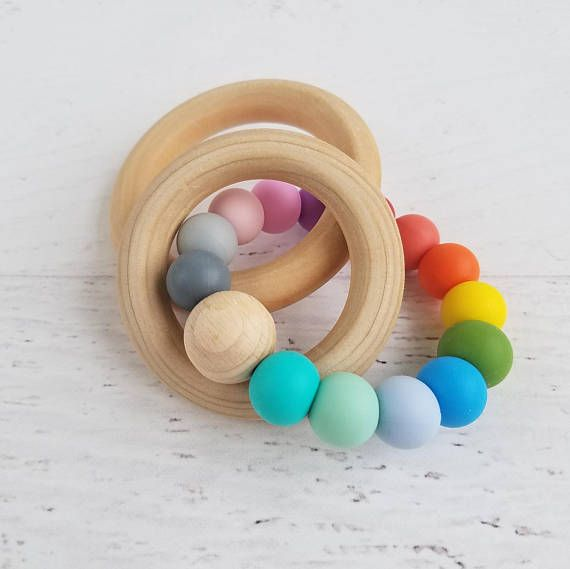 Rainbow baby gift wood and silicone teether silicone teething rainbow baby gift wood and silicone teether silicone teething ring personalized baby gifts wooden teething ring natural baby toys negle Gallery