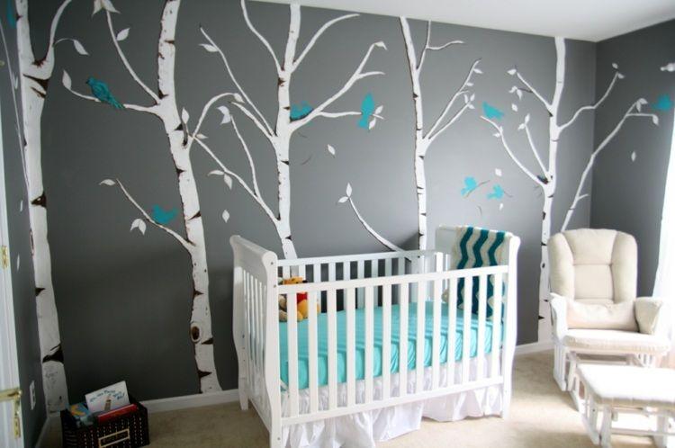 grau weies babyzimmer mit birken als wandmotive - Wandgestaltung Babyzimmer