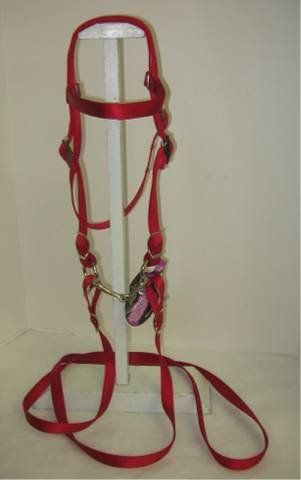 "MINIATURE HORSE / SMALL PONY NYLON BRIDLE RED by PARTY PONIES. $19.99. Adjustable!. Sized for the Miniature Horse or Small pony. Bright, washable colors!. Beautiful double ply web bridle . Current styel has one point adjustment. 8' rein and 3.5"" snaffle bit.  Measures 32"" from bit attachment, around ears, to other side at largest setting. 25"" at smallest.  This bridle comes in 16 colors and two sizes; Miniature Horse/Sm Pony or Pony size."