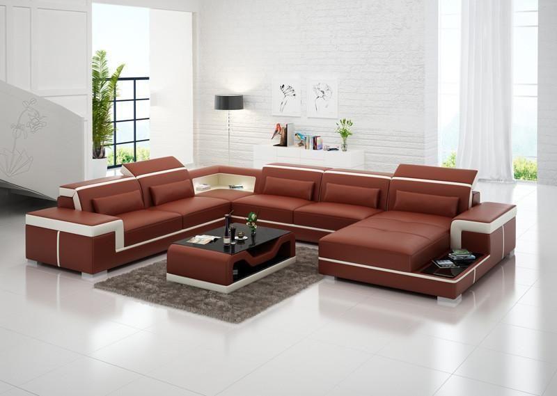 Modern Living Room Sofa Set, Leather Sofas PLUS Coffee Table, Orange