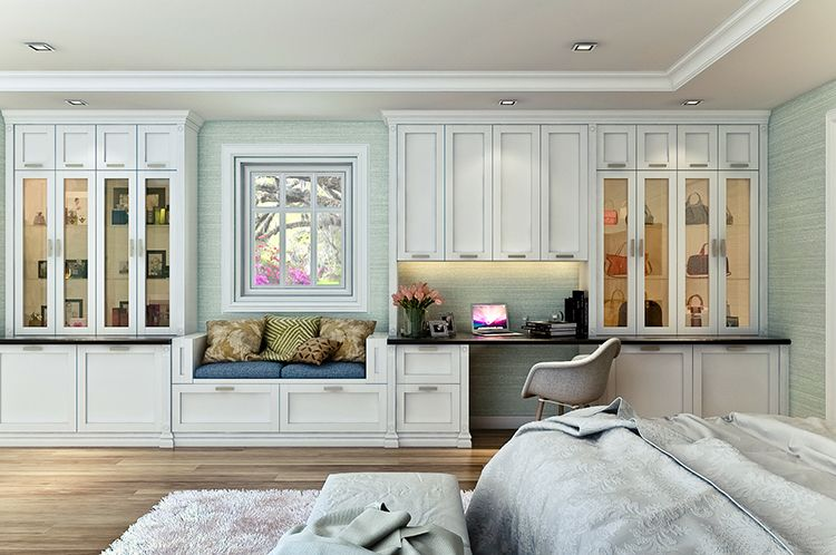 Nice Custom Shaker Style Bedroom Wall Unit Features A Built In Desk And Window  Seat.
