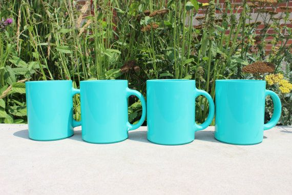 fb9820e8e1c FOUR (4) vintage plastic melamine turquoise camping mugs, turquoise ...