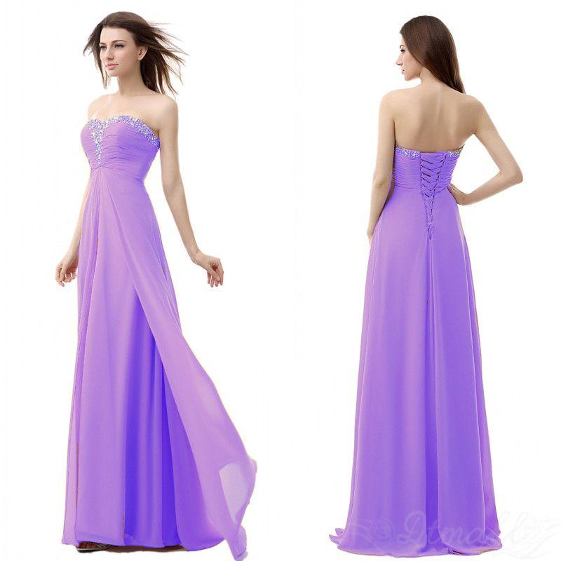 Largo de dama de honor vestidos sin tirantes del partido del vestido ...