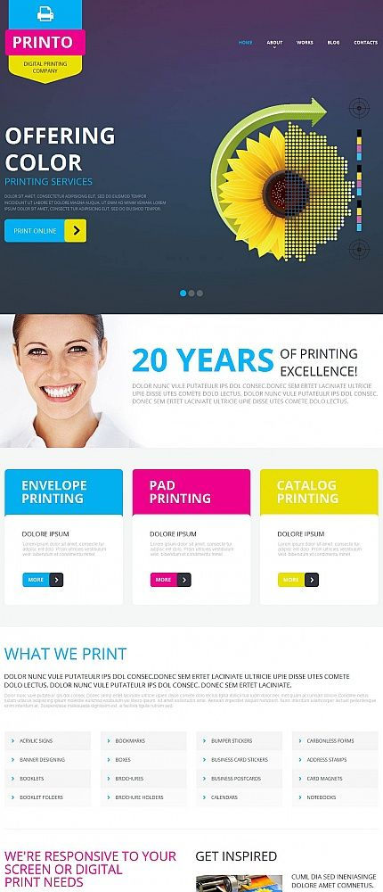 printing company design with a header slider html web templates