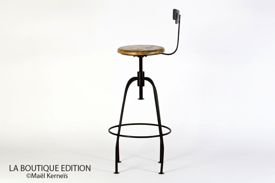 Chaise de bar goncourt bois tabouret industriel en m tal la boutique pari - Chaise de bar industriel ...
