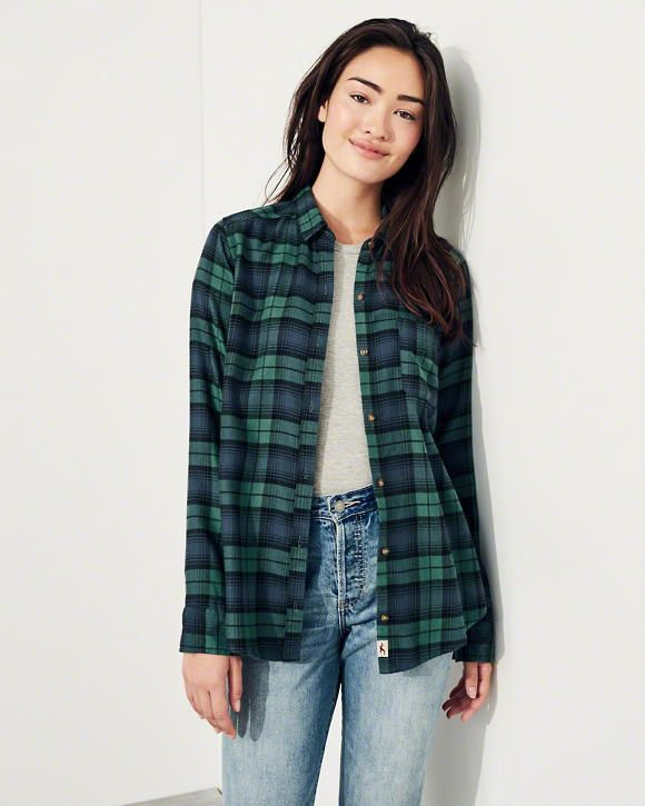 e7af3464c Girls Oversized Flannel Shirt