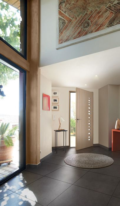 Porte du0027entrée en mixte aluminium bois, Crypto-duo par Zilten    - dimensions porte d entree