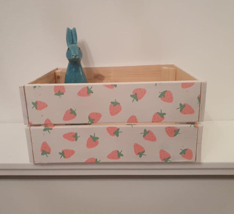 Strawberry crate Wooden Crate strawberry pattern girls and | Etsy