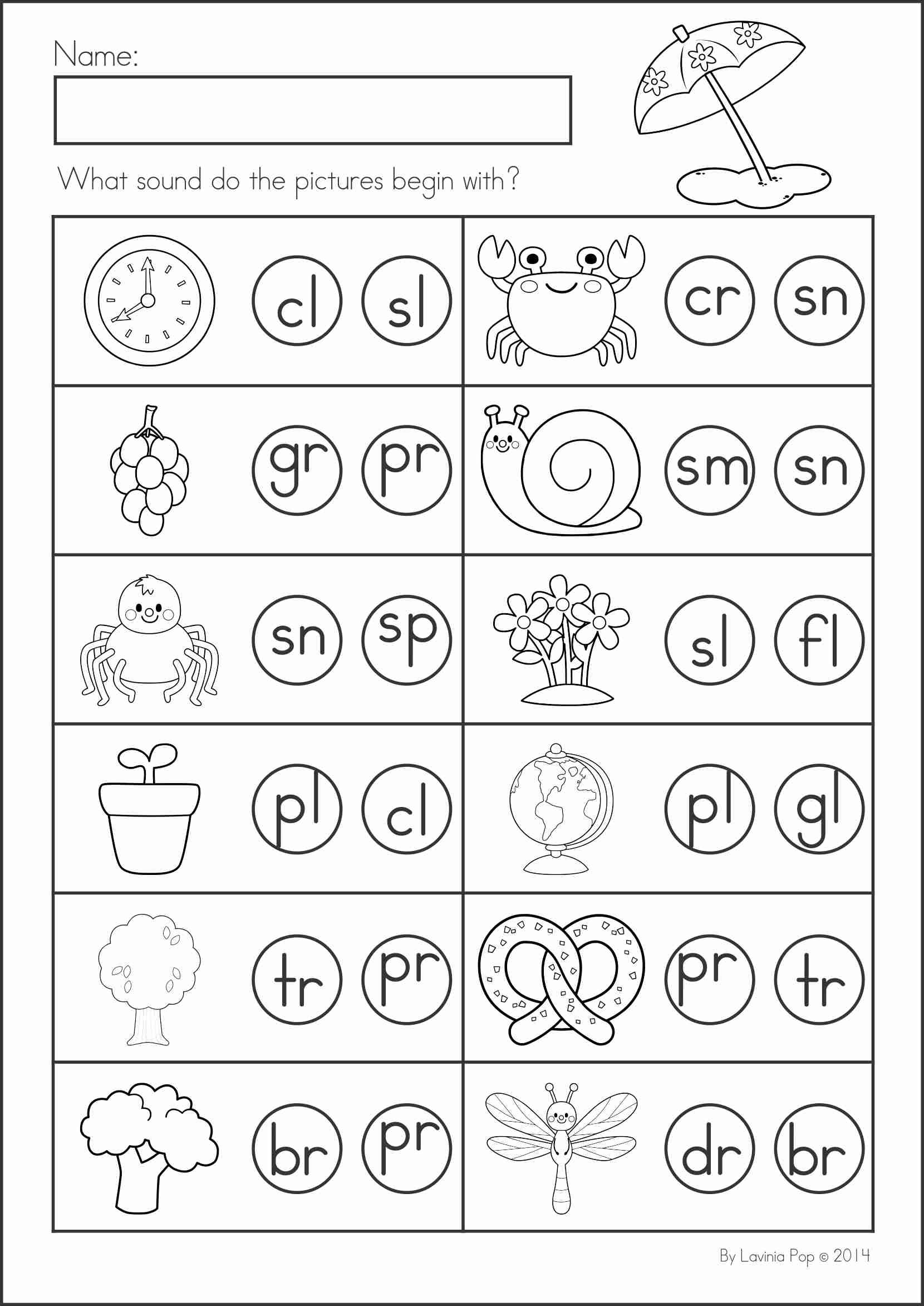 Worksheets Beginning Blends Worksheets summer review literacy worksheets math and kindergarten activities 104 pages a page from
