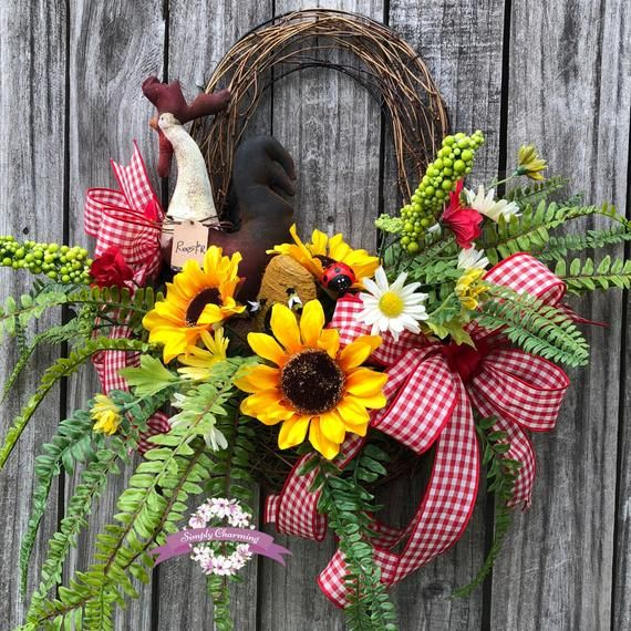Photo of Sunflower Rooster Wreath, Rooster Wreath, Sunflower Wreath, Sunflower Front Door Wreaths, Rooster Door Wreath, Everyday Wreath