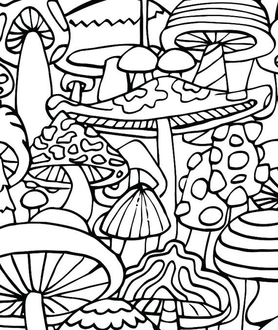 Adult Coloring Page - Mushrooms - Printable coloring page ...
