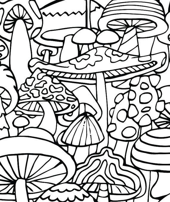 Adult Coloring Page Mushrooms Printable Coloring By Candyhippie Free Adult Coloring Pages Coloring Pages Adult Coloring Pages