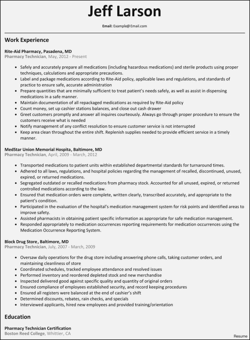 Pharmacy Technician Job Description for Resume Pharmacy