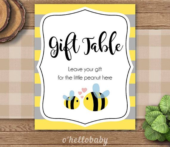 Yellow Bumble Bee Baby Shower Gift Table Signs Favor By Ohellobaby