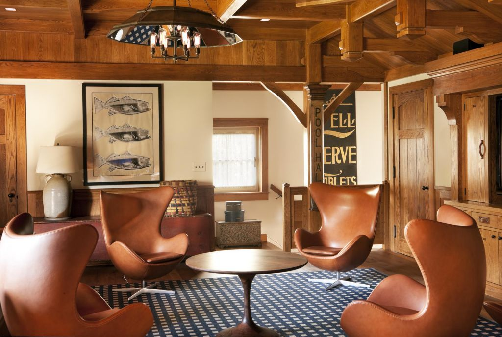 Midcentury modern meets rustic mariner's cabin style in this Sea Island, GA seaside mansion interior - designed by Bellguimet design team of Bucks County PA