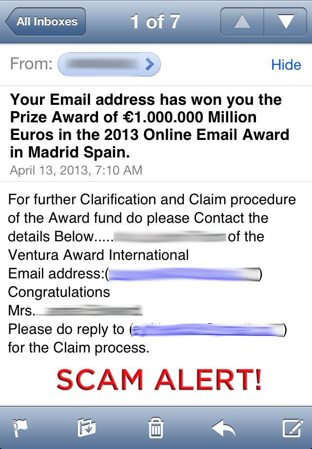This Is Classic Example Of A Foreign Lottery Scam If You Receive
