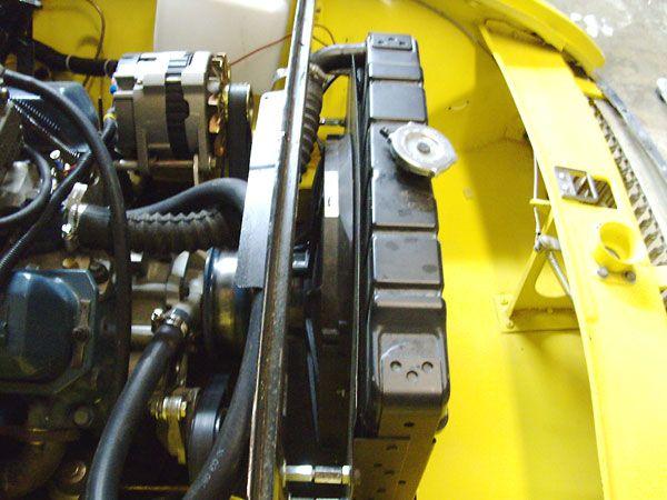 Stock MG radiator with 14 inch fan and custom shroud  | MGB