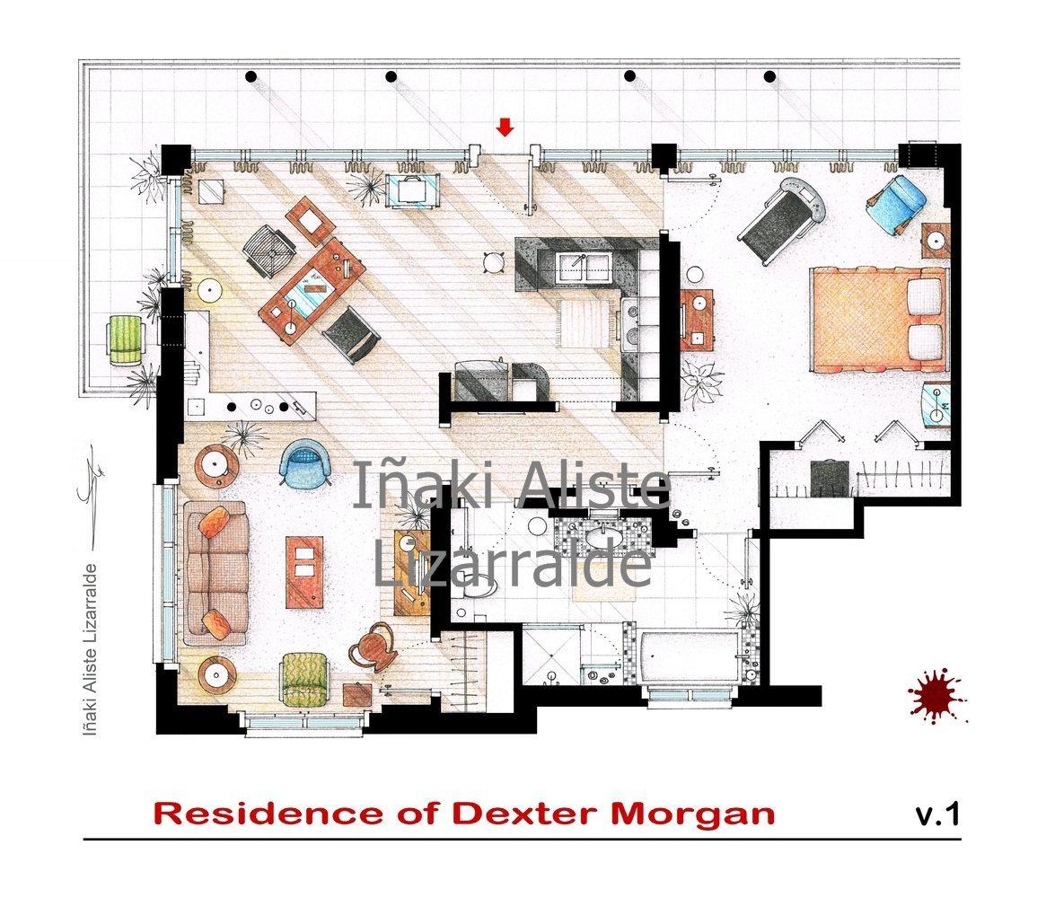 Floorplan of Dexter Morgan\'s apartment from DEXTER | Dexter and ...