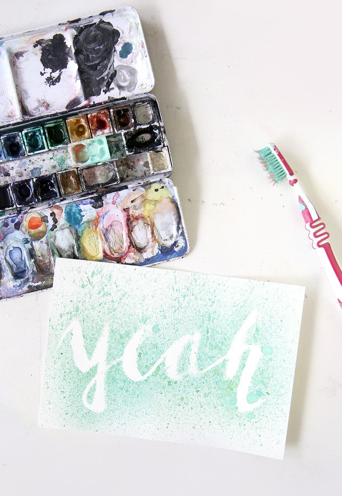 Diy Lettering Sprenkelbild Mit Wasserfarbe Mit Bildern