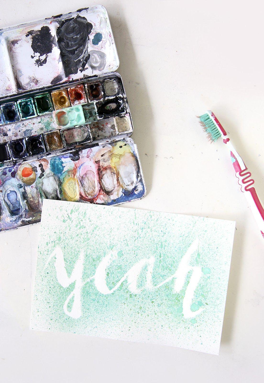 Diy Lettering Sprenkelbild Mit Wasserfarbe Diy Kreative Ideen
