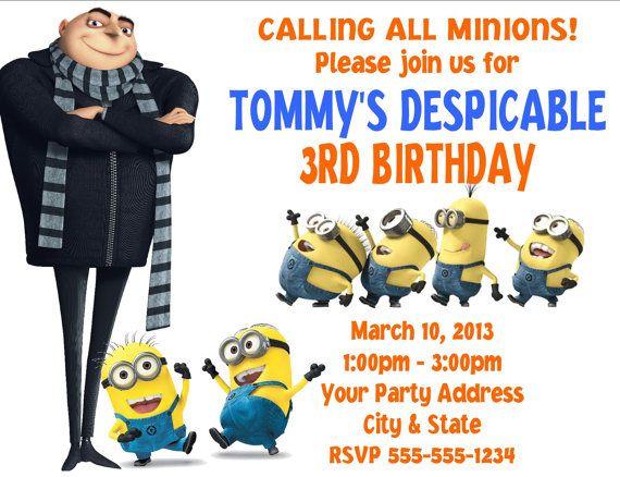 Despicable Me Gru Minions Birthday Party Invitations Custom