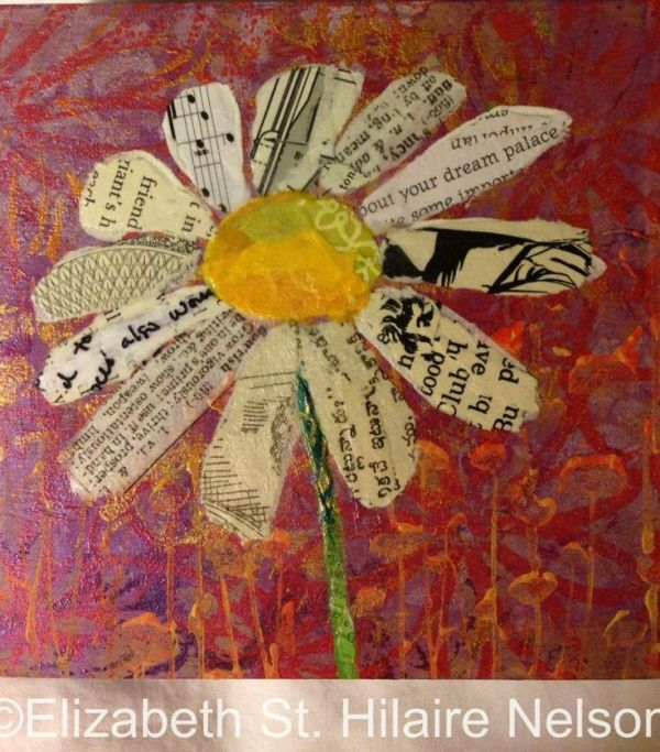 Flowers Collage and Paint Mixed Media Canvas Board