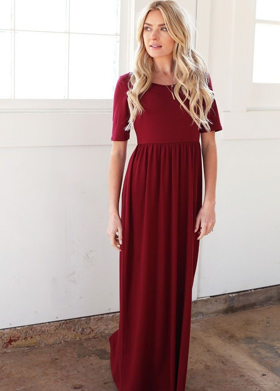 Floor length maxi dress with an empire waist and scoop neck. Half ...