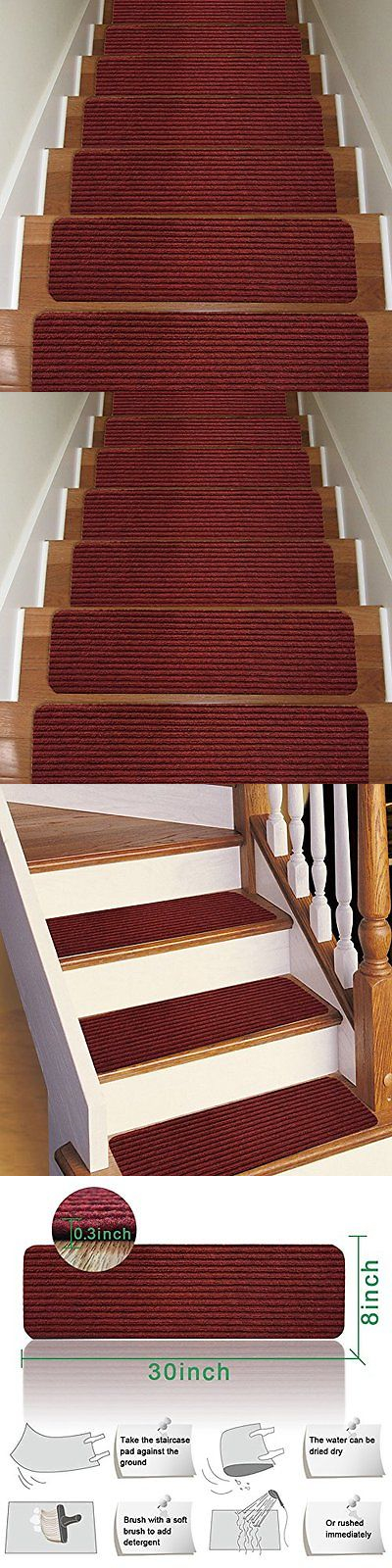 Stair Treads 175517: Stair Carpet Treads Non Slip Set Of 13 Indoor Stair  Tread Rugs