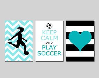 Soccer Wall Art Soccer Room Decor Girl Soccer Art Girls Soccer Decor Set Of  3